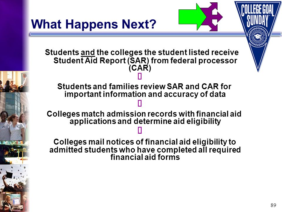 89 What Happens Next? Students and the colleges the student listed receive Student Aid Report (SAR) from federal processor (CAR) Students and families