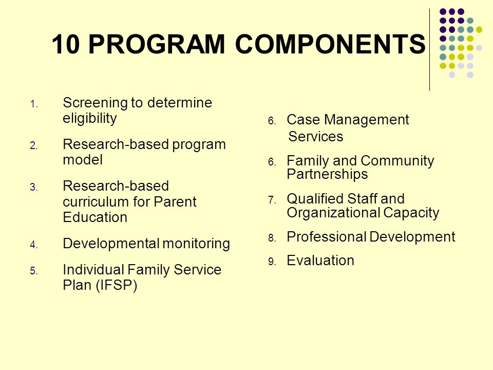 10 PROGRAM COMPONENTS 1. Screening to determine eligibility 2.