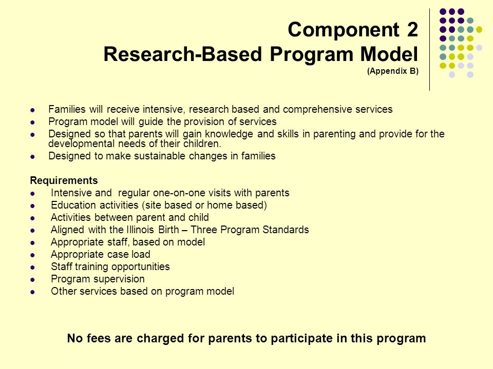 No fees are charged for parents to participate in this program Component 2 Research-Based Program Model (Appendix B) Families will receive intensive,