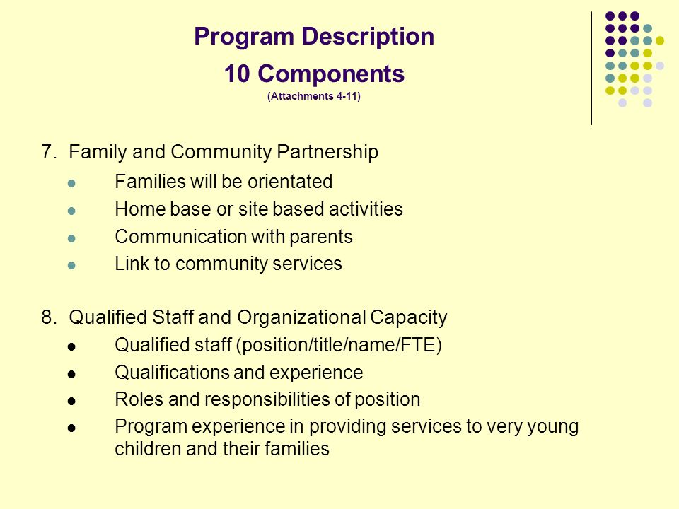 Program Description 10 Components (Attachments 4-11) 7.