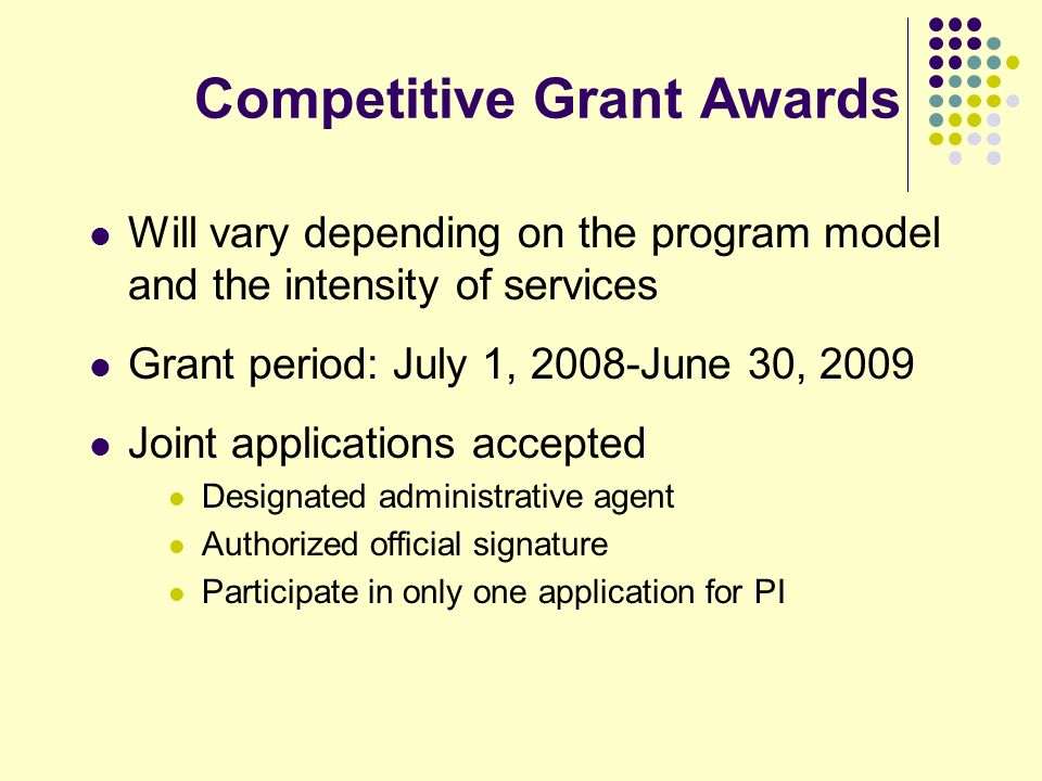 Competitive Grant Awards Will vary depending on the program model and the intensity of services Grant period: July 1, 2008-June 30, 2009 Joint applica