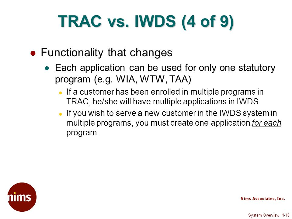 System Overview 1-10 TRAC vs.