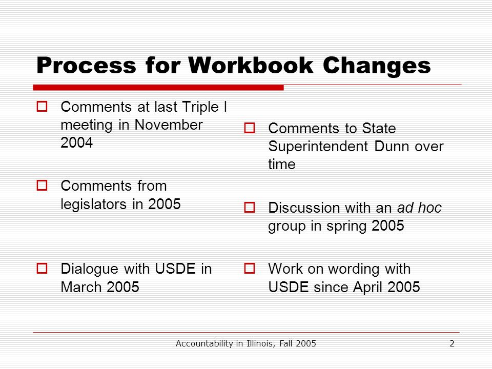 Accountability in Illinois, Fall 20052 Process for Workbook Changes Comments at last Triple I meeting in November 2004 Comments from legislators in 20