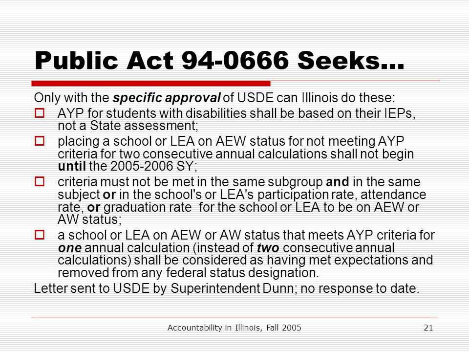 Accountability in Illinois, Fall 200521 Public Act 94-0666 Seeks… Only with the specific approval of USDE can Illinois do these: AYP for students with
