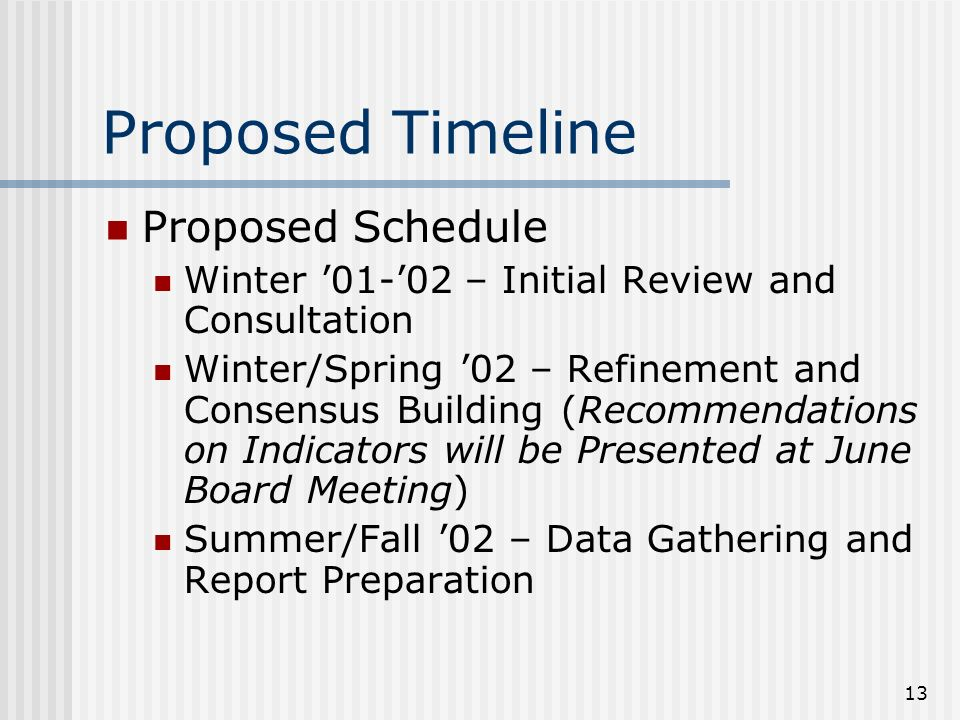 13 Proposed Timeline Proposed Schedule Winter 01-02 – Initial Review and Consultation Winter/Spring 02 – Refinement and Consensus Building (Recommendations on Indicators will be Presented at June Board Meeting) Summer/Fall 02 – Data Gathering and Report Preparation
