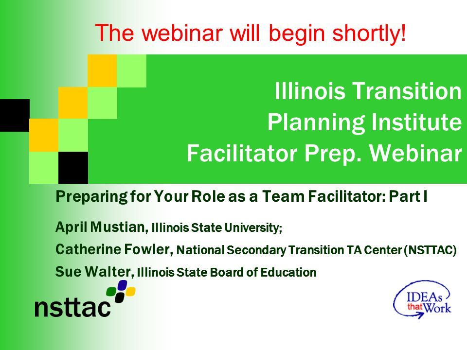 Illinois Transition Planning Institute Facilitator Prep. Webinar Preparing for Your Role as a Team Facilitator: Part I April Mustian, Illinois State U