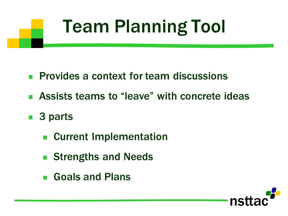 Team Planning Tool Provides a context for team discussions Assists teams to leave with concrete ideas 3 parts Current Implementation Strengths and Nee