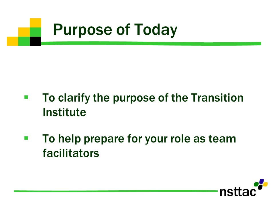Purpose of Today To clarify the purpose of the Transition Institute To help prepare for your role as team facilitators
