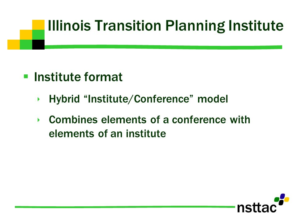 Institute format Hybrid Institute/Conference model Combines elements of a conference with elements of an institute Illinois Transition Planning Instit