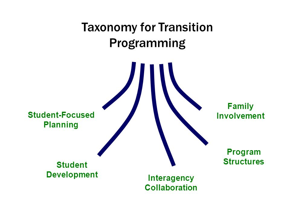 Student-Focused Planning Student Development Interagency Collaboration Program Structures Family Involvement Taxonomy for Transition Programming