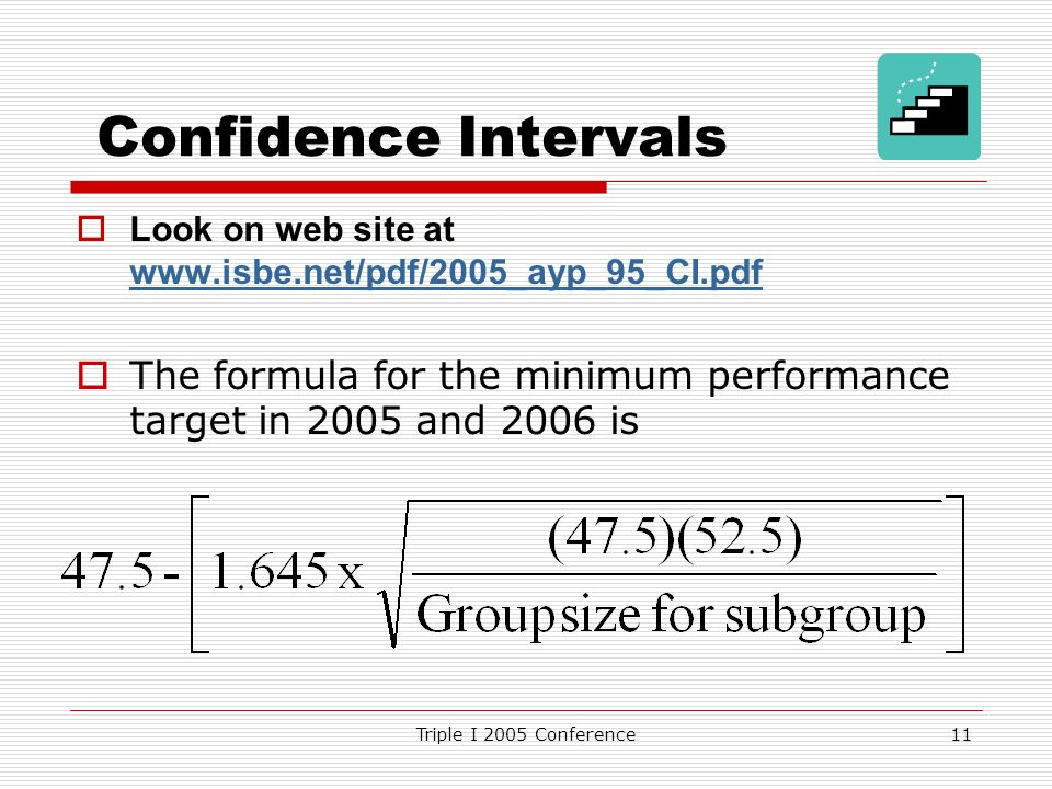 Triple I 2005 Conference11 Confidence Intervals Look on web site at www.isbe.net/pdf/2005_ayp_95_CI.pdf www.isbe.net/pdf/2005_ayp_95_CI.pdf The formula for the minimum performance target in 2005 and 2006 is