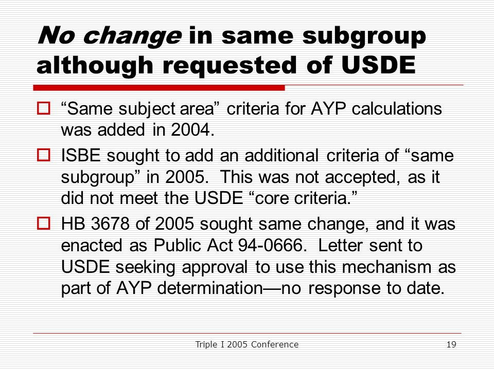 Triple I 2005 Conference19 No change in same subgroup although requested of USDE Same subject area criteria for AYP calculations was added in 2004.
