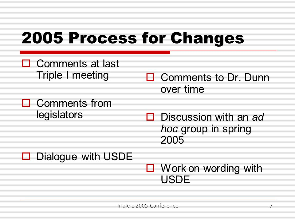 Triple I 2005 Conference Process for Changes Comments at last Triple I meeting Comments from legislators Dialogue with USDE Comments to Dr.