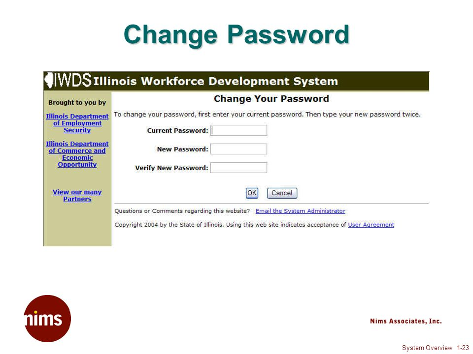 System Overview 1-23 Change Password