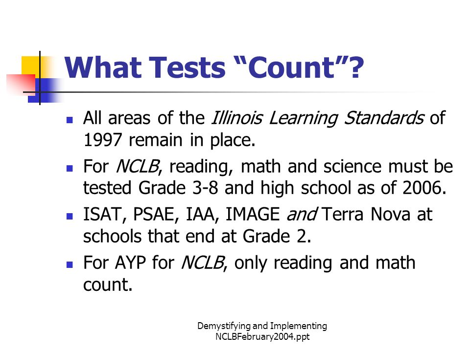 Demystifying and Implementing NCLBFebruary2004.ppt What Tests Count.