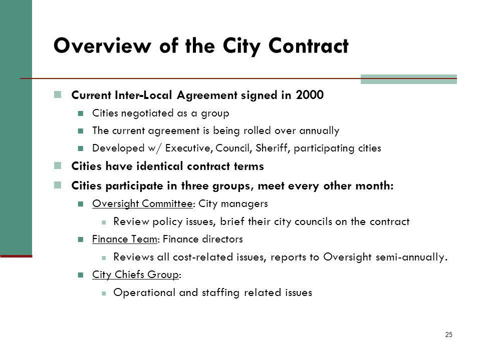 25 Overview of the City Contract Current Inter-Local Agreement signed in 2000 Cities negotiated as a group The current agreement is being rolled over annually Developed w/ Executive, Council, Sheriff, participating cities Cities have identical contract terms Cities participate in three groups, meet every other month: Oversight Committee: City managers Review policy issues, brief their city councils on the contract Finance Team: Finance directors Reviews all cost-related issues, reports to Oversight semi-annually.