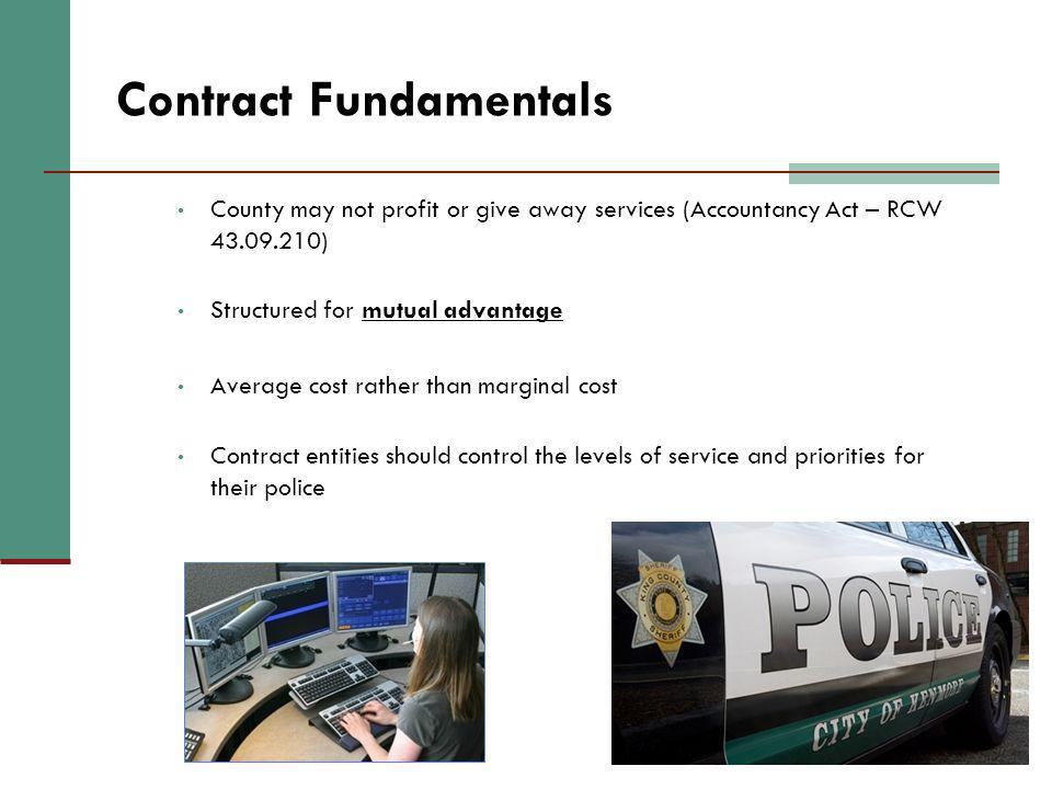 26 Contract Fundamentals County may not profit or give away services (Accountancy Act – RCW 43.09.210) Structured for mutual advantage Average cost ra