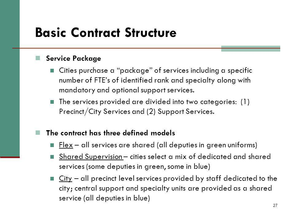 27 Basic Contract Structure Service Package Cities purchase a package of services including a specific number of FTEs of identified rank and specialty along with mandatory and optional support services.