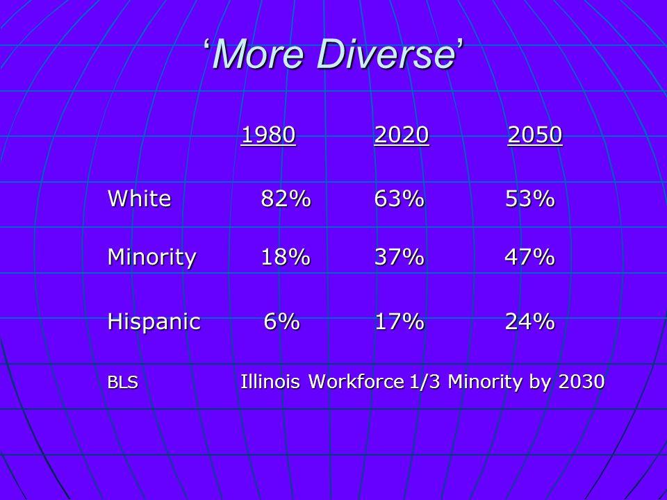 More DiverseMore Diverse 198020202050 198020202050 White 82%63% 53% Minority 18%37% 47% Hispanic 6%17% 24% BLS Illinois Workforce 1/3 Minority by 2030