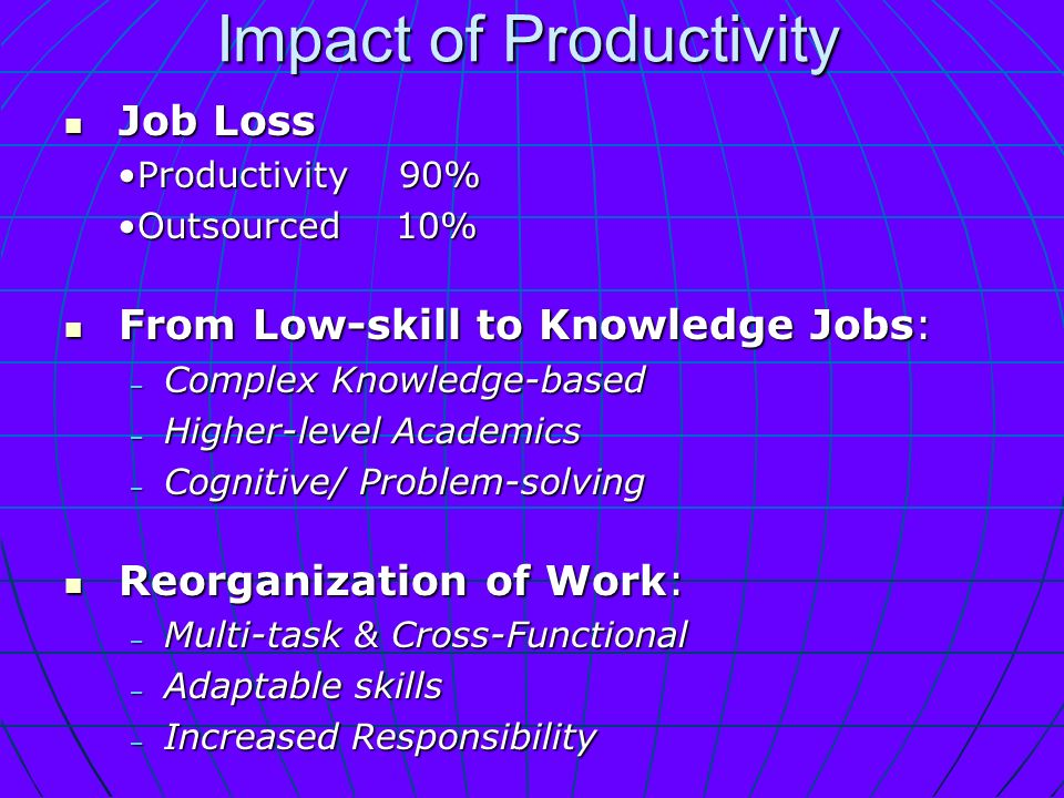 Impact of Productivity Job Loss Job Loss Productivity 90%Productivity 90% Outsourced 10%Outsourced 10% From Low-skill to Knowledge Jobs: From Low-skill to Knowledge Jobs: – Complex Knowledge-based – Higher-level Academics – Cognitive/ Problem-solving Reorganization of Work: Reorganization of Work: – Multi-task & Cross-Functional – Adaptable skills – Increased Responsibility Education and Certification are Criteria for Hiring.