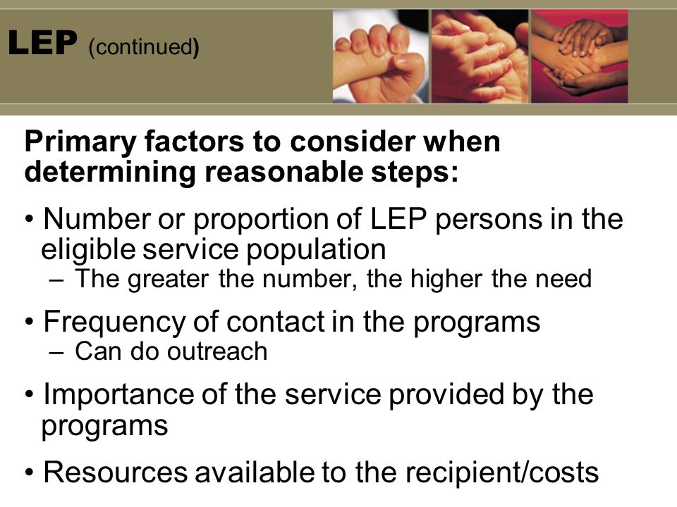 LEP (continued) Primary factors to consider when determining reasonable steps: Number or proportion of LEP persons in the eligible service population –The greater the number, the higher the need Frequency of contact in the programs –Can do outreach Importance of the service provided by the programs Resources available to the recipient/costs