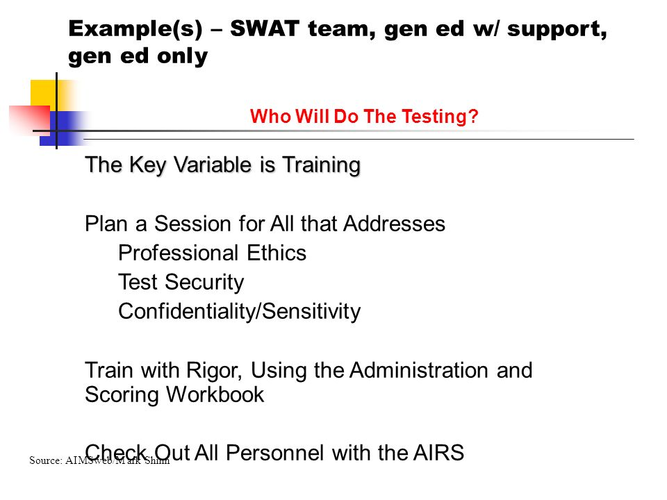 Who Will Do The Testing? The Key Variable is Training Plan a Session for All that Addresses Professional Ethics Test Security Confidentiality/Sensitiv