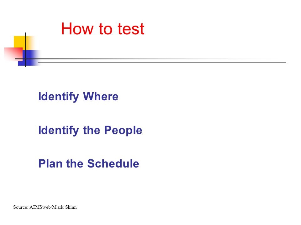 How to test Identify Where Identify the People Plan the Schedule Source: AIMSweb/M ark Shinn