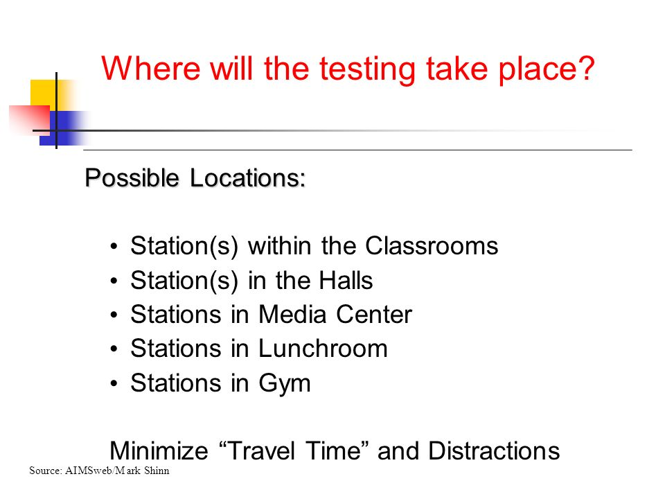 Where will the testing take place? Possible Locations: Station(s) within the Classrooms Station(s) in the Halls Stations in Media Center Stations in L