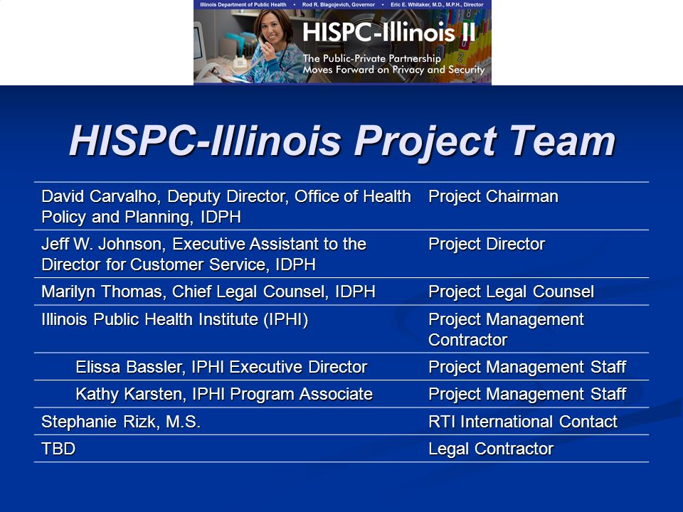 HISPC-Illinois Project Team David Carvalho, Deputy Director, Office of Health Policy and Planning, IDPH Project Chairman Jeff W. Johnson, Executive As