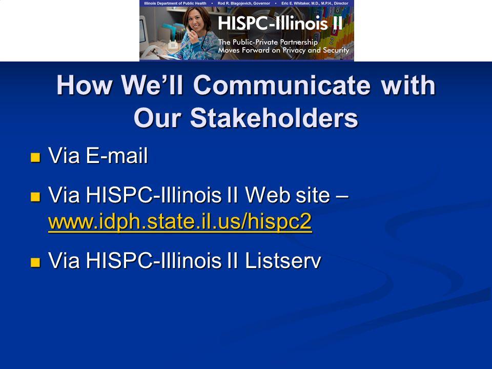 How Well Communicate with Our Stakeholders Via E-mail Via E-mail Via HISPC-Illinois II Web site – www.idph.state.il.us/hispc2 Via HISPC-Illinois II Web site – www.idph.state.il.us/hispc2 www.idph.state.il.us/hispc2 Via HISPC-Illinois II Listserv Via HISPC-Illinois II Listserv