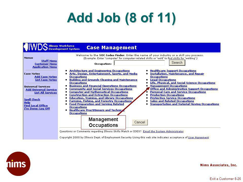 Exit a Customer 8-26 Add Job (8 of 11) Management Occupations