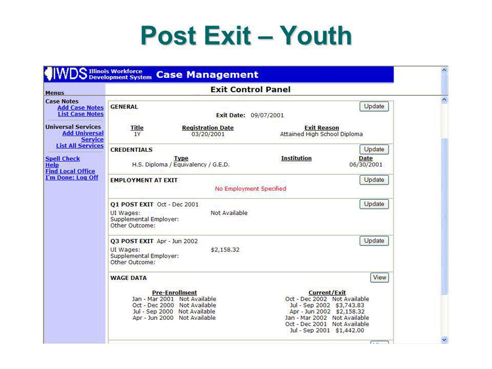 Post Exit – Youth