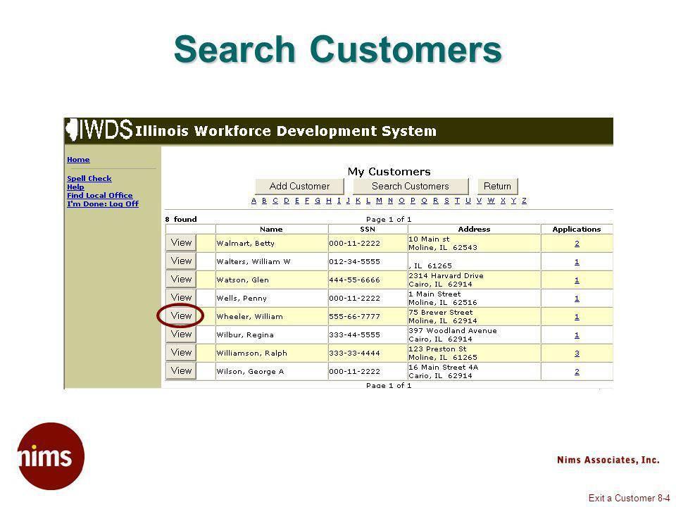 Exit a Customer 8-35 Application Summary