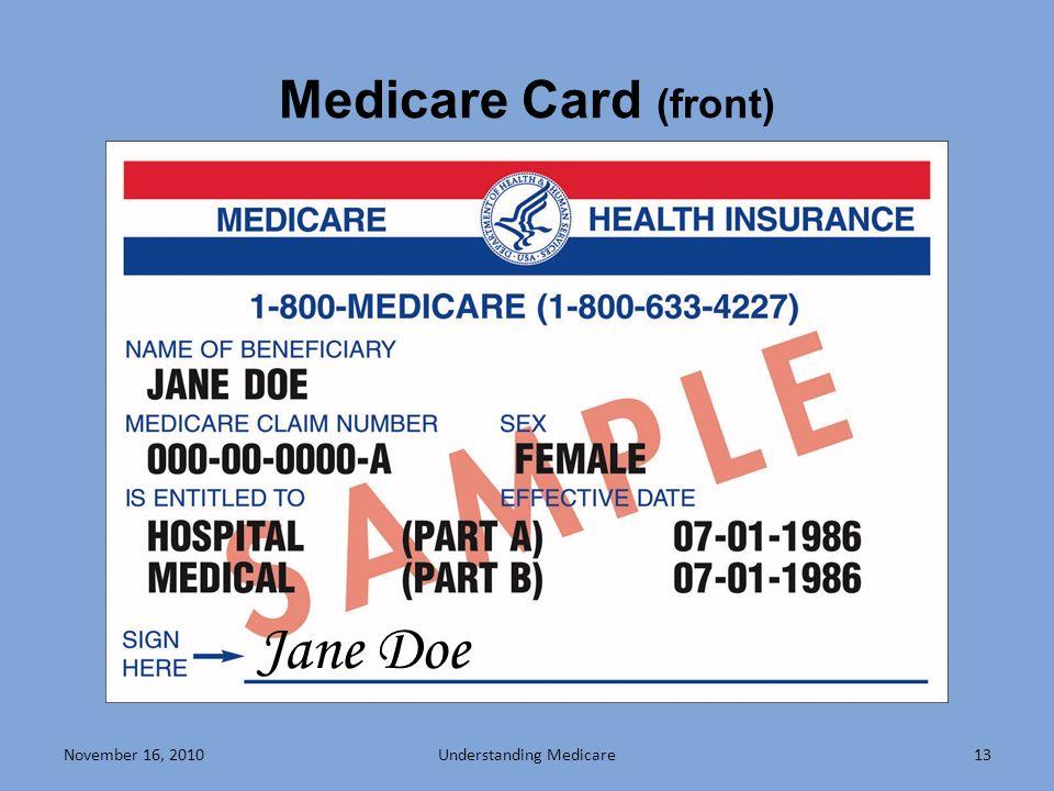 November 16, 201013 Medicare Card (front) Jane Doe Understanding Medicare