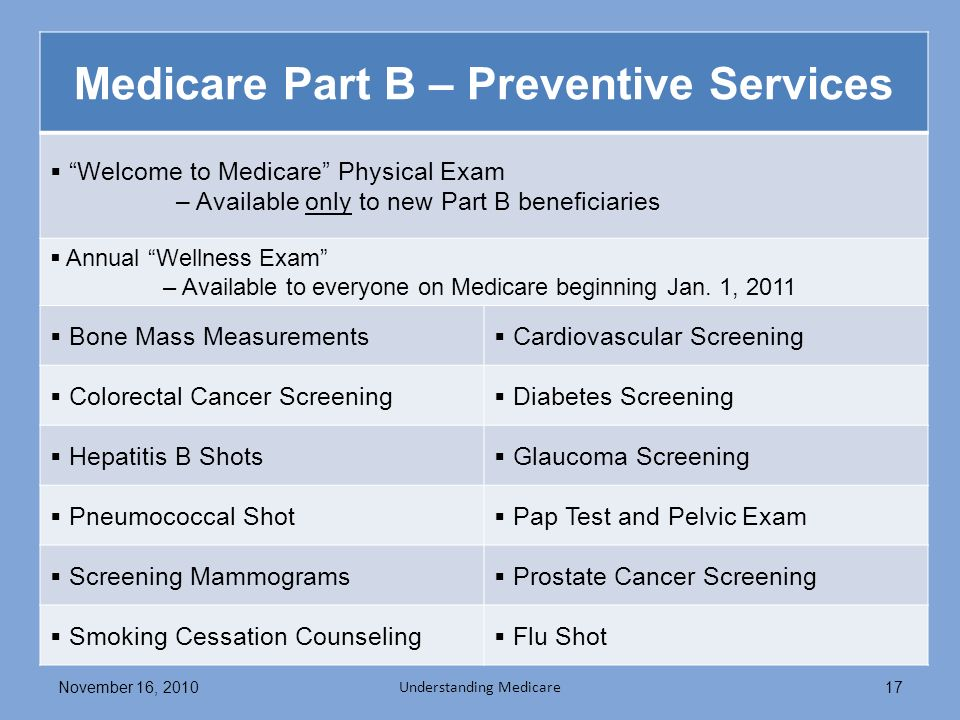 Medicare Part B – Preventive Services Welcome to Medicare Physical Exam – Available only to new Part B beneficiaries Annual Wellness Exam – Available to everyone on Medicare beginning Jan.