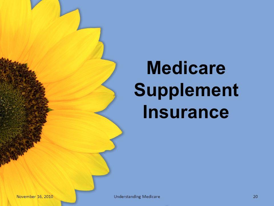 Medicare Supplement Insurance November 16, 2010Understanding Medicare20
