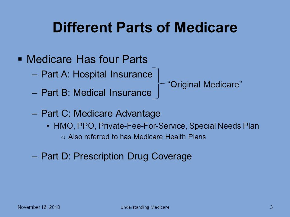 Different Parts of Medicare Medicare Has four Parts –Part A: Hospital Insurance –Part B: Medical Insurance –Part C: Medicare Advantage HMO, PPO, Private-Fee-For-Service, Special Needs Plan o Also referred to has Medicare Health Plans –Part D: Prescription Drug Coverage November 16, 2010 Understanding Medicare 3 Original Medicare