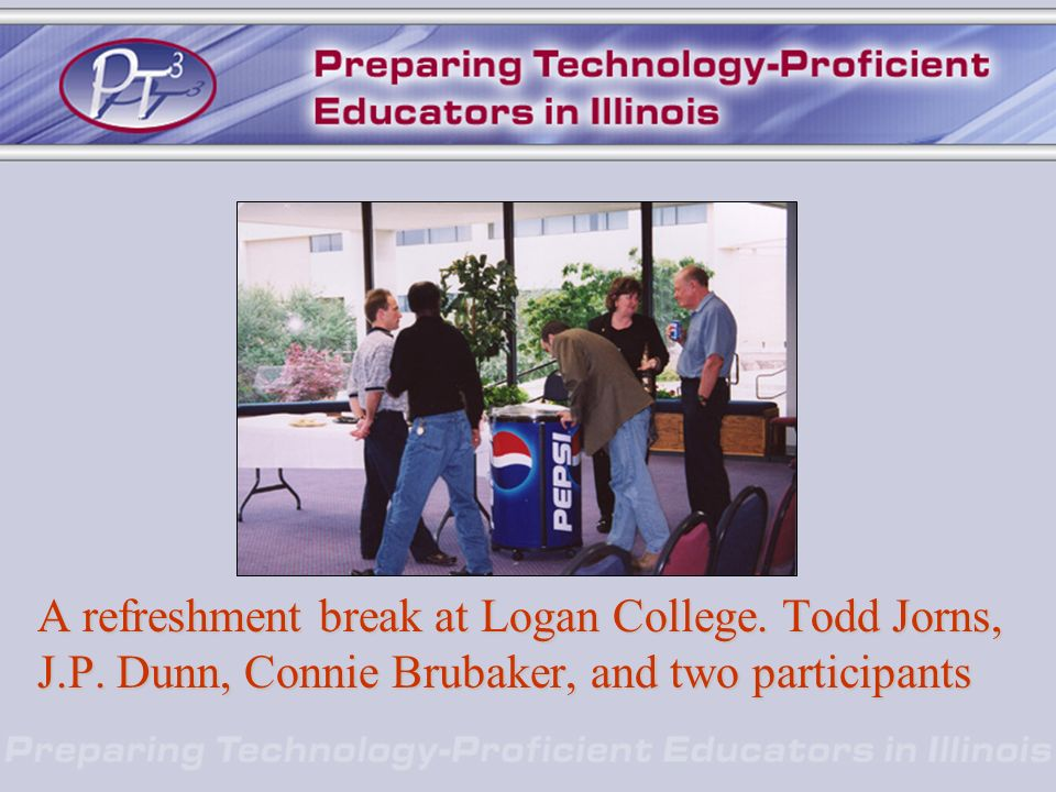 A refreshment break at Logan College. Todd Jorns, J.P. Dunn, Connie Brubaker, and two participants