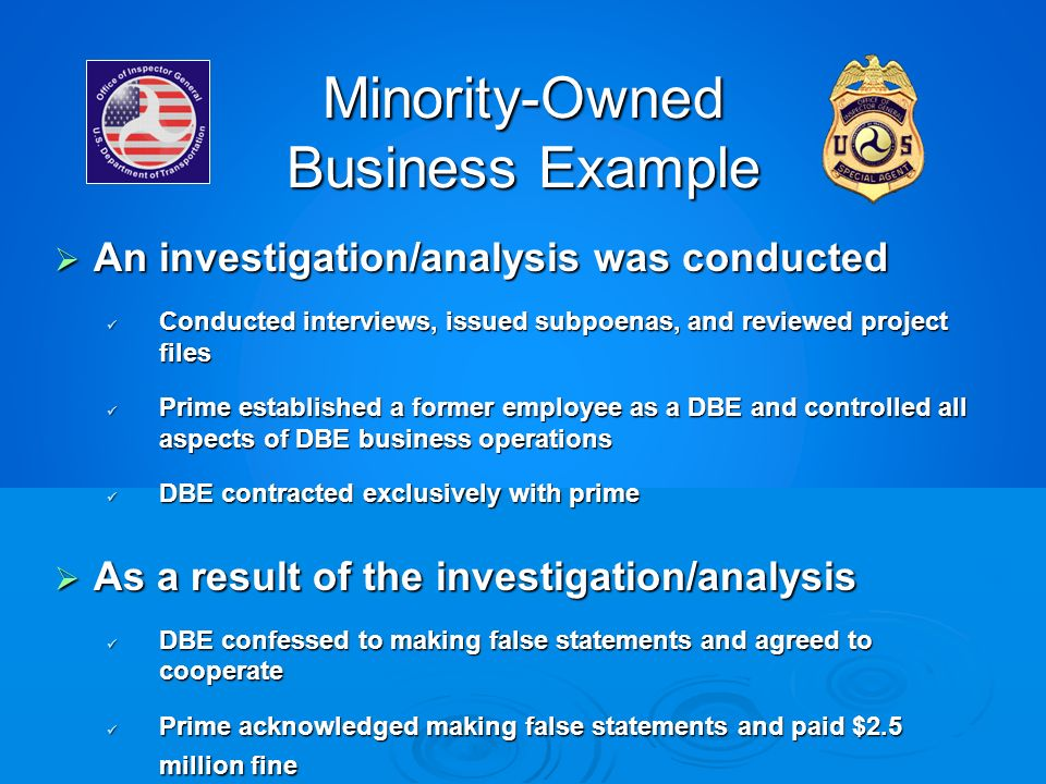 Minority-Owned Business Example An investigation/analysis was conducted An investigation/analysis was conducted Conducted interviews, issued subpoenas