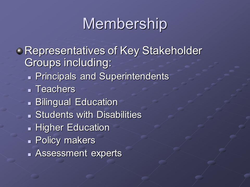Membership Representatives of Key Stakeholder Groups including: Principals and Superintendents Principals and Superintendents Teachers Teachers Biling