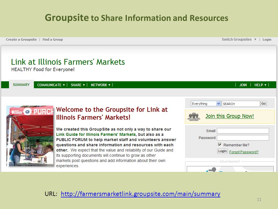 11 URL: http://farmersmarketlink.groupsite.com/main/summaryhttp://farmersmarketlink.groupsite.com/main/summary Groupsite to Share Information and Resources