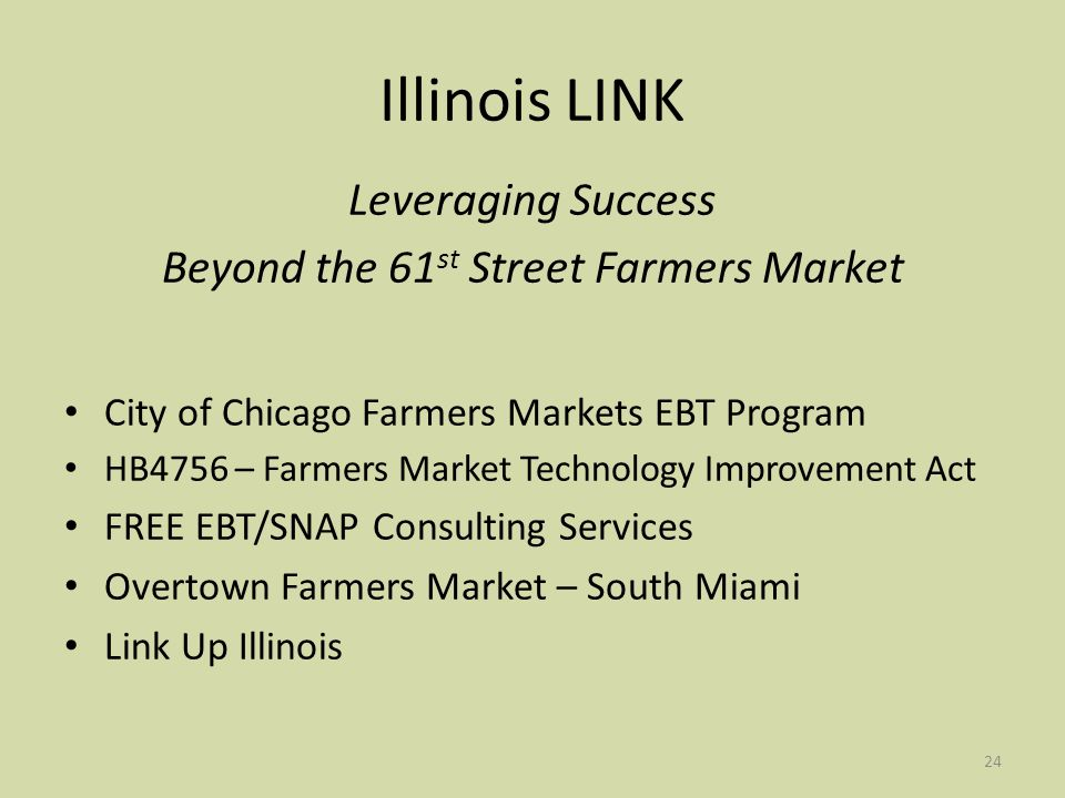 24 Illinois LINK Leveraging Success Beyond the 61 st Street Farmers Market City of Chicago Farmers Markets EBT Program HB4756 – Farmers Market Technology Improvement Act FREE EBT/SNAP Consulting Services Overtown Farmers Market – South Miami Link Up Illinois