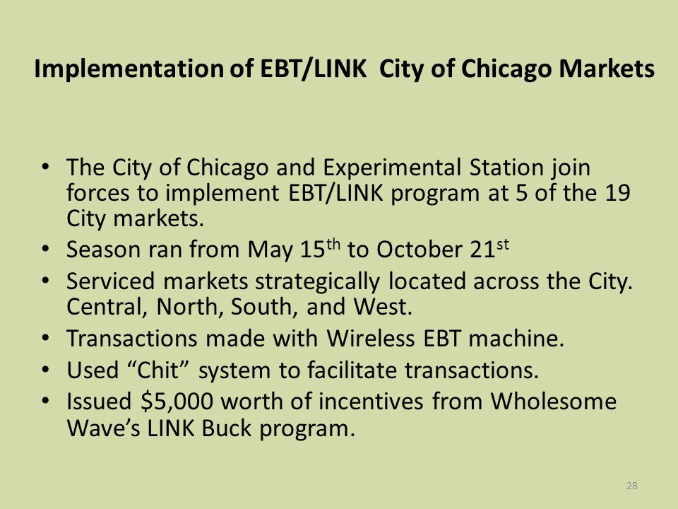28 Implementation of EBT/LINK City of Chicago Markets The City of Chicago and Experimental Station join forces to implement EBT/LINK program at 5 of the 19 City markets.