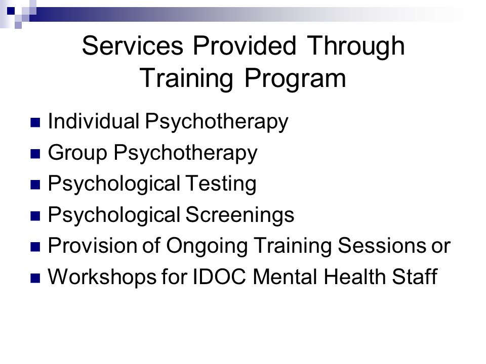 Dixon Correctional Center Program is a member of the Association of Psychology Postdoctoral and Internship Centers (APPIC) Program Includes: Clinical Supervisor (Licensed Clinical Psychologist) Additional supervision and training provided by IDOC staff and ISPP faculty Three Post-Doctoral Residents Three Pre-Doctoral Interns Three Practicum Students Psychotherapy Assessment/Diagnostic One Administrative Assistant