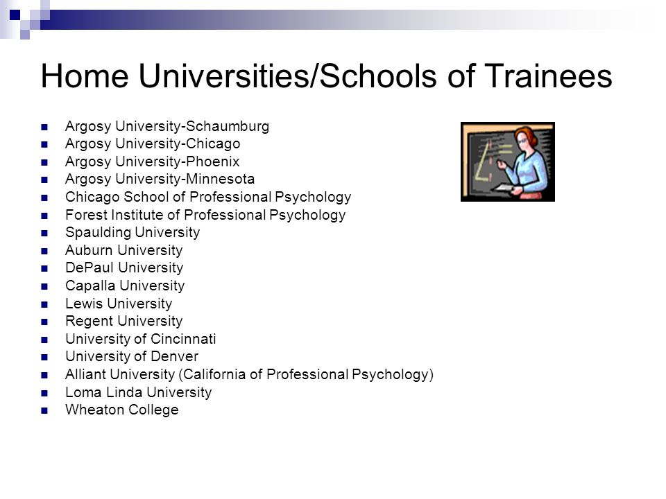 Home Universities/Schools of Trainees Argosy University-Schaumburg Argosy University-Chicago Argosy University-Phoenix Argosy University-Minnesota Chi