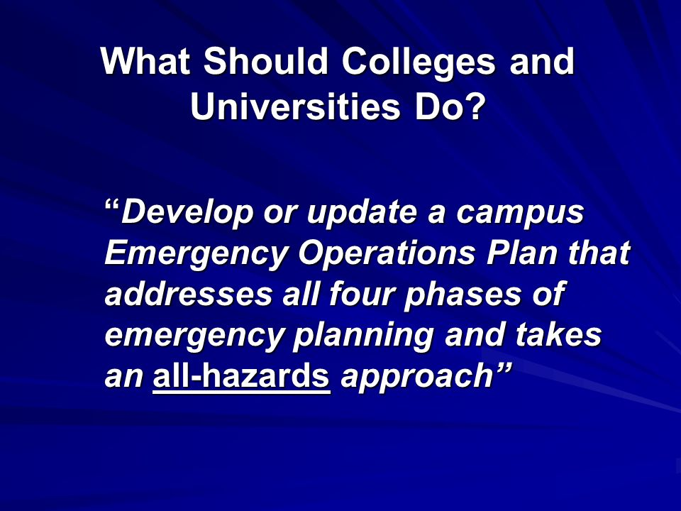 What Should Colleges and Universities Do.
