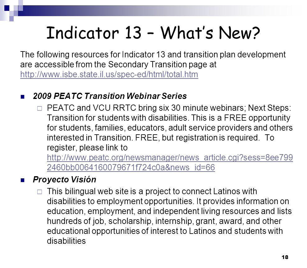 18 Indicator 13 – Whats New.