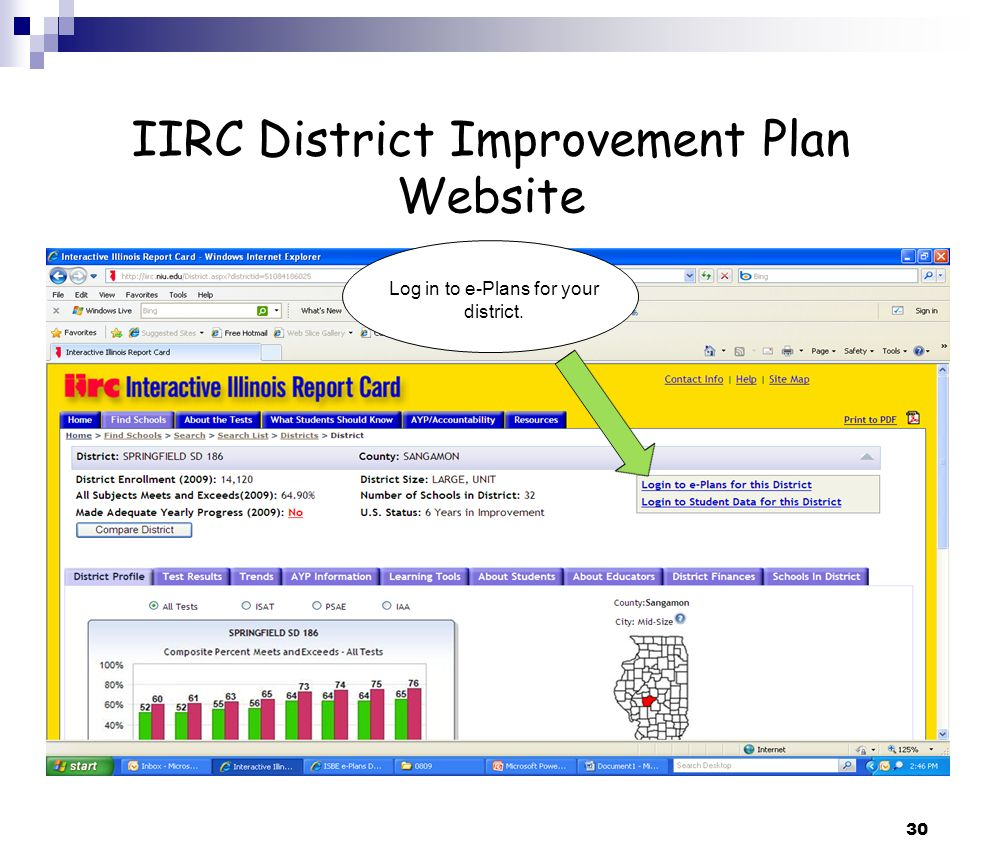 30 IIRC District Improvement Plan Website Log in to e-Plans for your district.