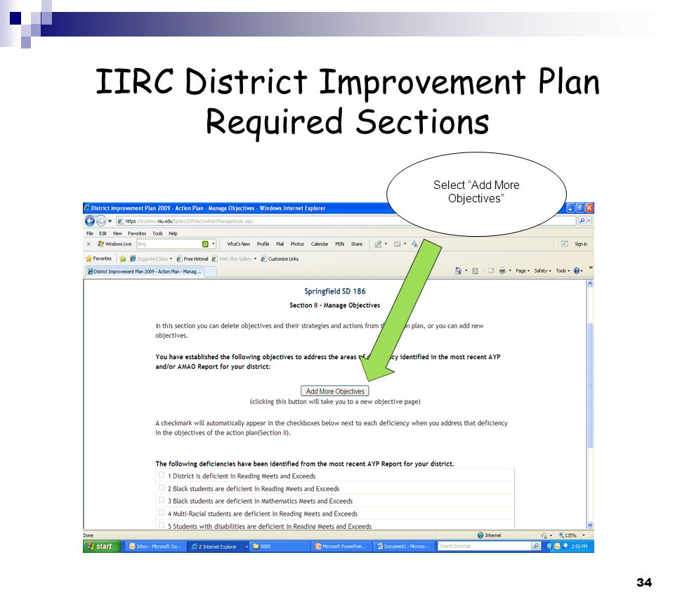 34 IIRC District Improvement Plan Required Sections Select Add More Objectives