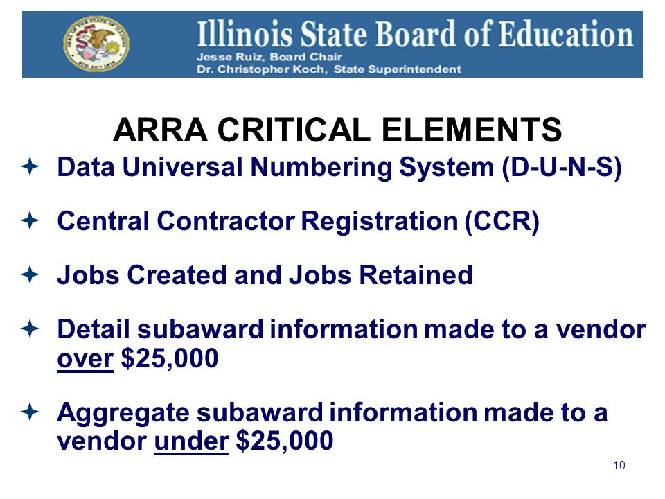 10 ARRA CRITICAL ELEMENTS Data Universal Numbering System (D-U-N-S) Central Contractor Registration (CCR) Jobs Created and Jobs Retained Detail subaward information made to a vendor over $25,000 Aggregate subaward information made to a vendor under $25,000